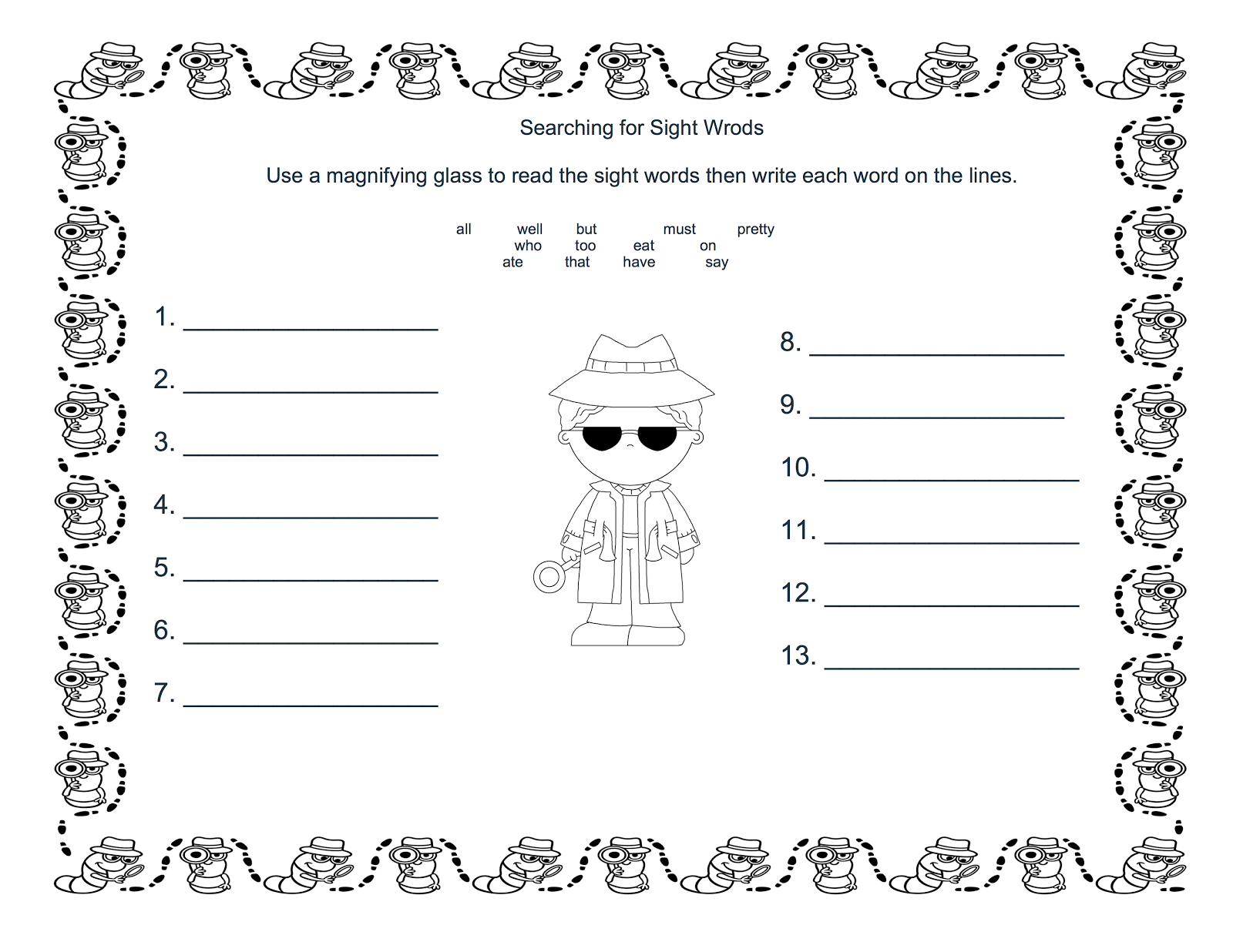 Teacher Talk Sight Word Detectives And A Freebie