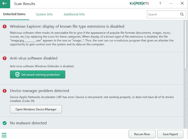 Kaspersky Diagnostics Results