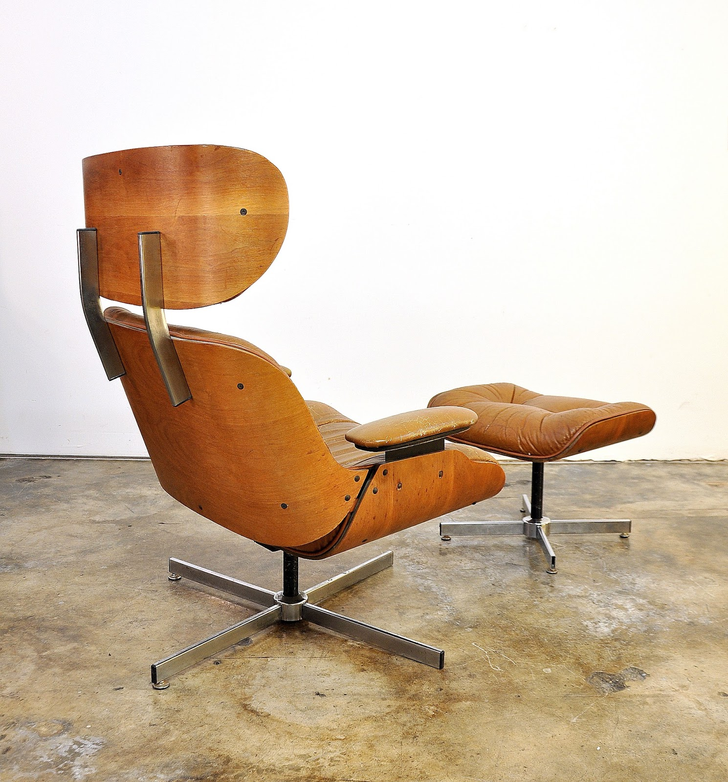Select modern frank doerner for selig eames style butterscotch lounge chair ottoman - Selig z chair for sale ...