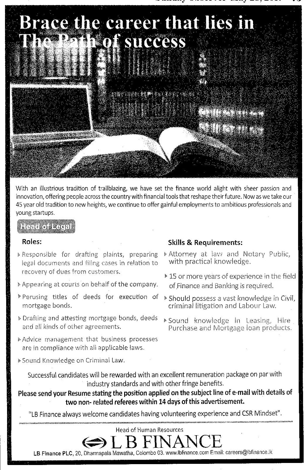 Head Of Legal Lb Finance Ceylonbook