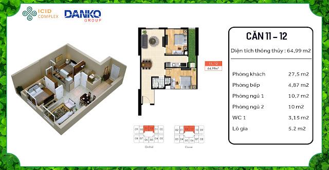 Căn 11 - 12 chung cư ICID Complex