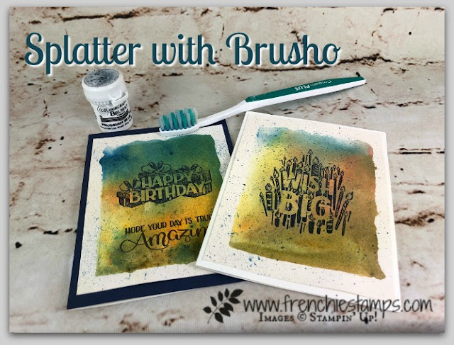 Splatter with Brusho, Big Wishes, Clear Block Background, Stampin'Up!, Frenchie,