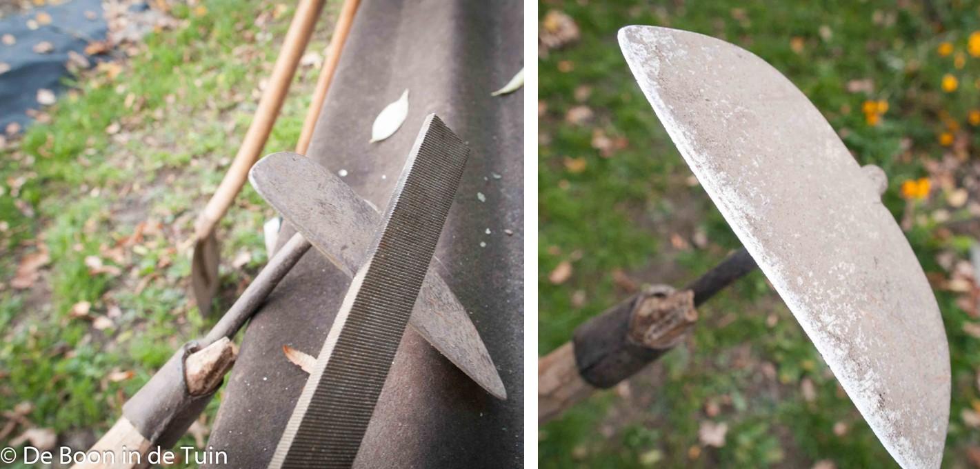slijpen tuinhak bietenhak ijzervijl onderhoud tuingereedschap