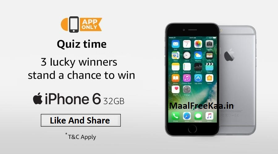 Win A Free Iphone 6 >> Amazon Quiz Contest To Win Iphone 6 Free Giveaway Free