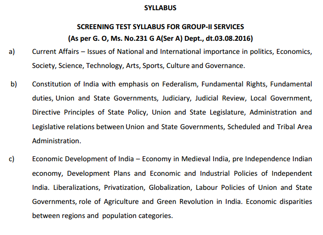 Group-2 Screening Test Syllabus