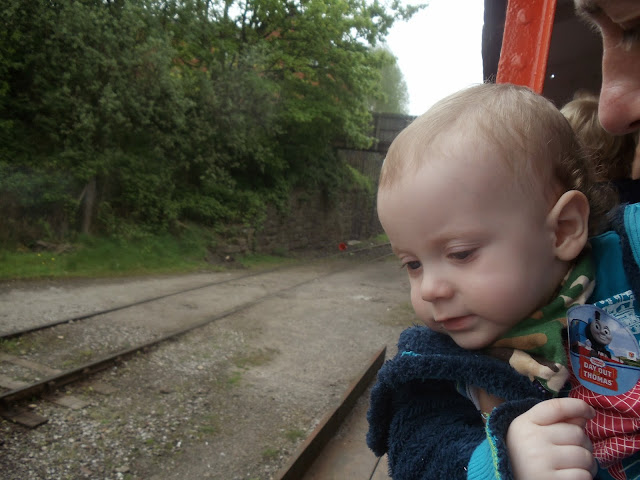 a toddler leaning over the side to look at train tracks