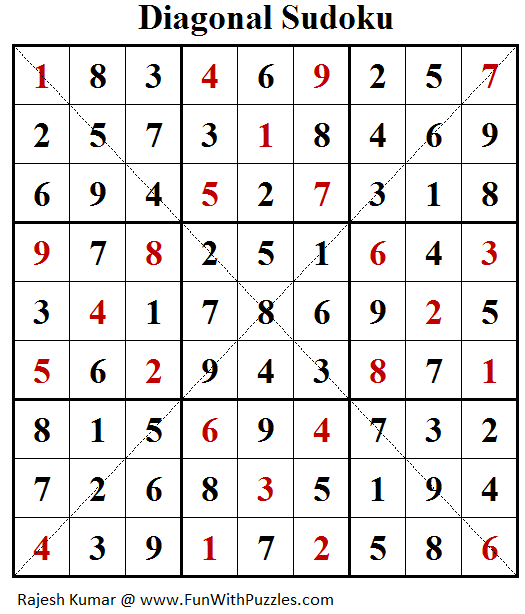 Diagonal Sudoku (Daily Sudoku League #176) Answer