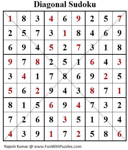 Diagonal Sudoku (Daily Sudoku League #176) Answer