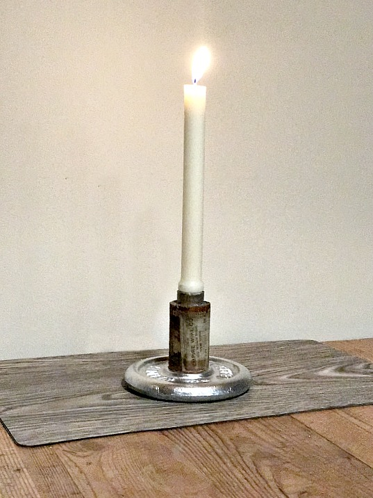 Industrial repurposed candle holder