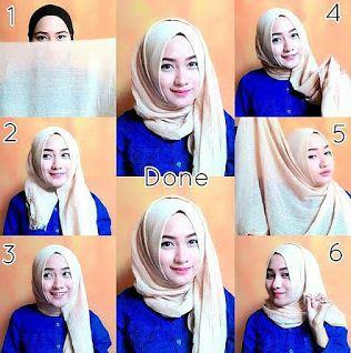 cara memakai hijab pashmina satin