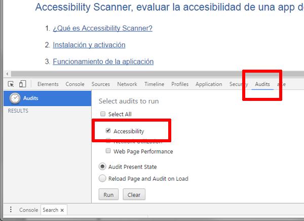 Chrome con la ventana Herramientas de desarrolladores inferior abierta en la pestaña Audits. Una de las opciones que aparecen en su interior es Accessibility.