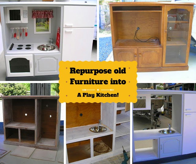 diy play kitchen repurposed from an old furniture creative ideas
