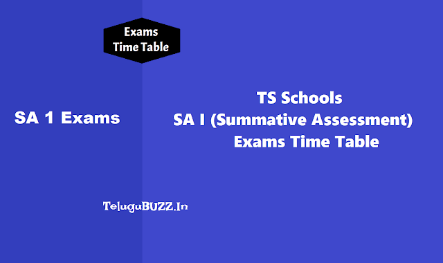 TS Schools SA 1 Exams Time Table 2019 (Summative Assessment I Exams Time Table)