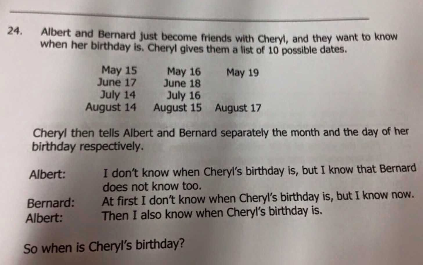 When is Cheryl's Birthday?
