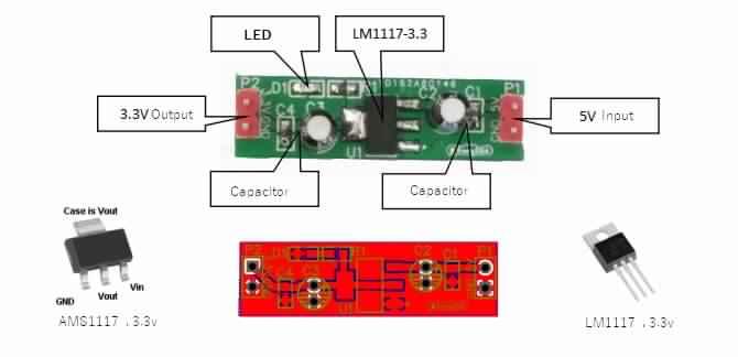 دائرة منظم جهد 3.3V وتيار 800mA بإستخدام LM1117-3.3V