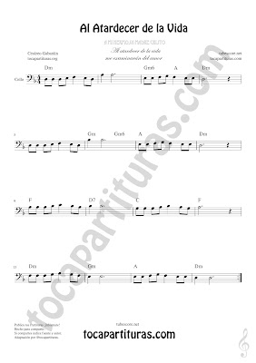 Violonchelo y Fagot Partitura de Al Atardecer de la Vida Sheet Music for Cello and Bassoon Music Scores