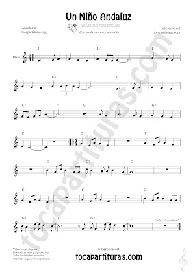 Oboe Partitura de Un Niño Andaluz Sheet Music for Oboe Music Score