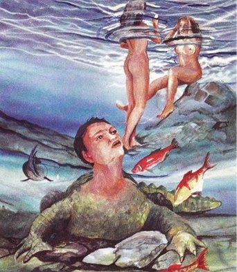 El hombre Caimán, casitado por ver a las bañistas desnudas