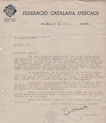 Carta a Ribera informando su inclusión en el Equipo Nacional de la Olimpiada de Munich 1936
