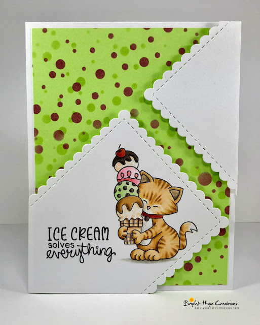 Cat and Ice Cream Card by August Guest Designer Kara Pogreba | Newton's Summer Treats Stamp Set by Newton's Nook Designs #newtonsnook #handmade