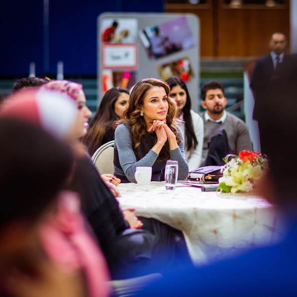"Queen Rania of Jordan attended the launch of the ""6th Jordan Volunteers Forum"" at the Royal Cultural Center"