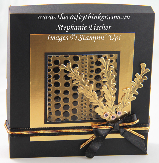 #thecraftythinker #stampinup #cardmaking #cardset #reinforced card box tutorial , Black & Gold card sets, Embossing Techniques, Reinforced Box Tutorial, Dot To Dot embossing folder, Stampin' Up Australia Demonstrator, Stephanie Fischer, Sydney NSW