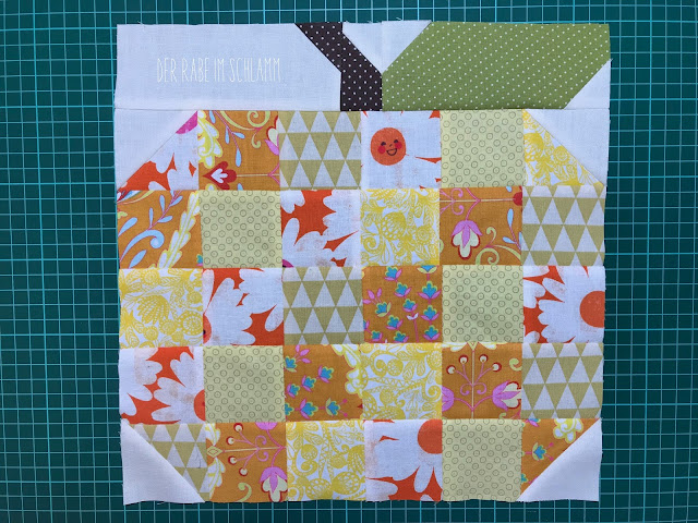 Der Rabe im Schlamm, Quiltblock, Fall Block Party, Lori Holt, Farm Girl Vintage, Patchwork Pumpkin Block
