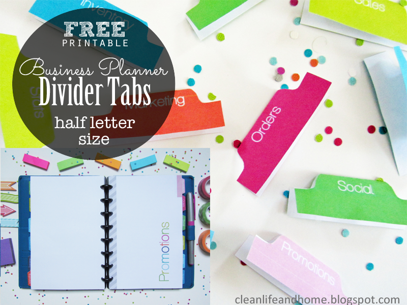 Clean Life And Home Freebie Friday Half Letter Size Divider Tabs