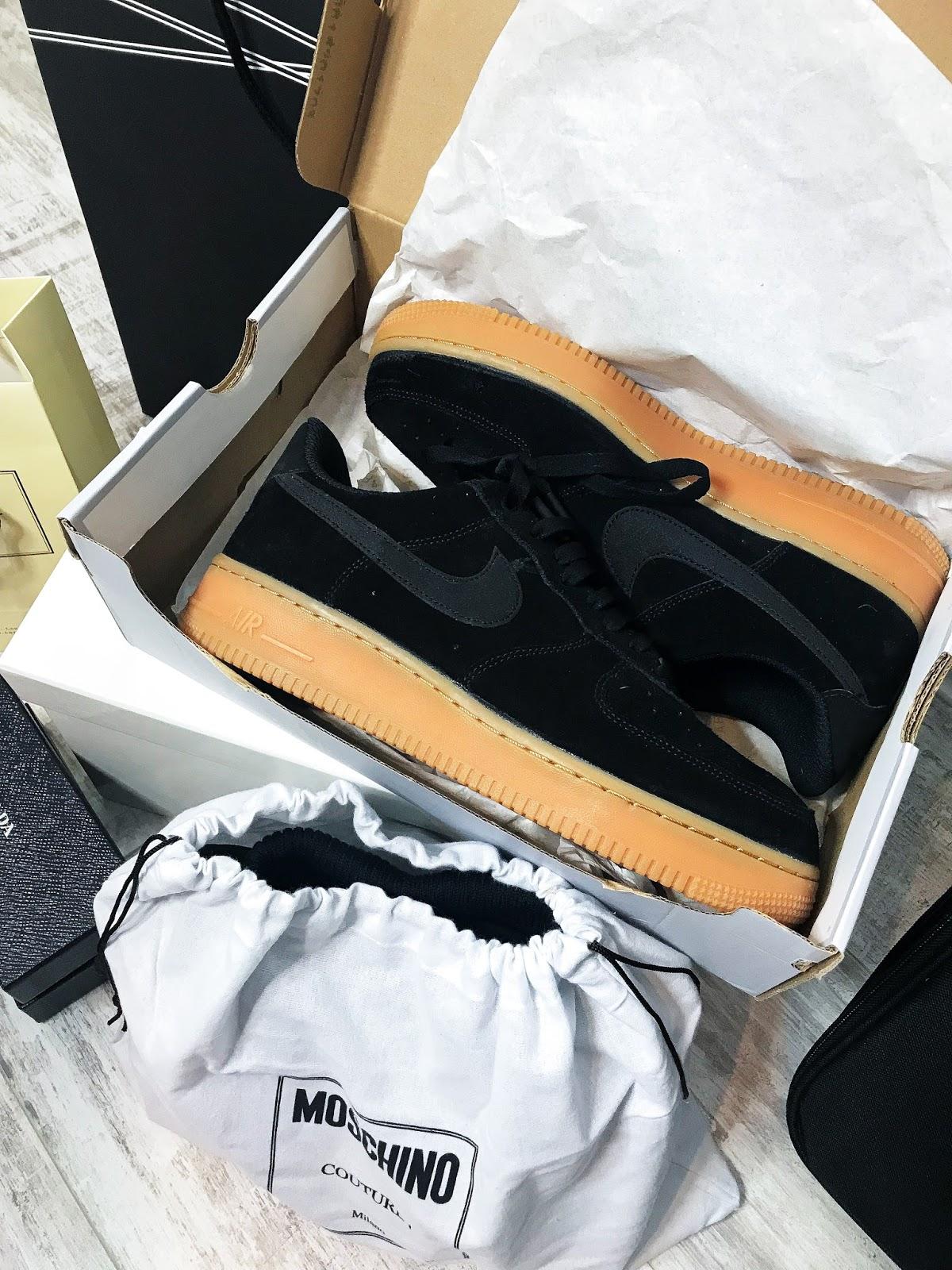 nike Air Force 1 black sedue and tan sole