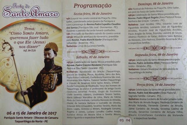 Programação da Festa de Santo Amaro 2017, em Taquaritinga do Norte