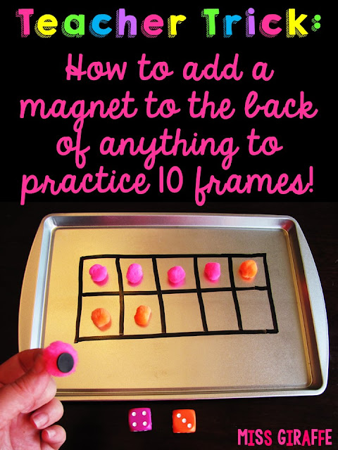 How to add a magnet to the back of anything to practice ten frames in small group math lessons