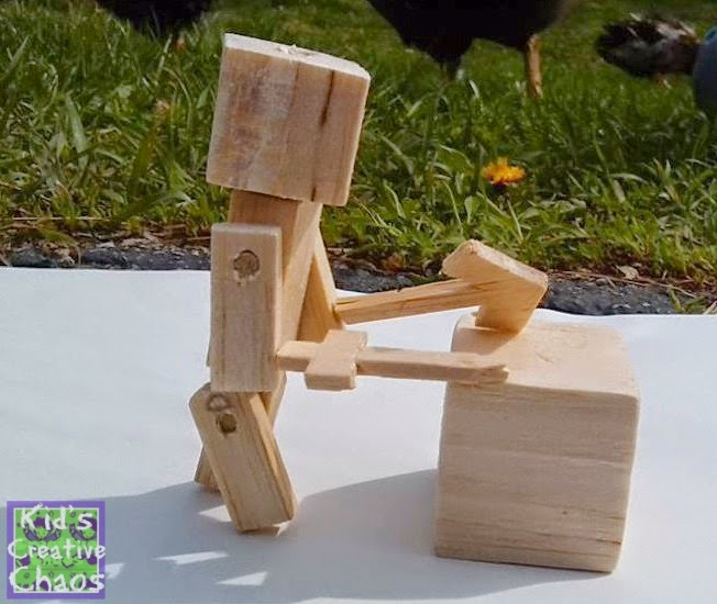 Make your own Minecraft style cube man from Balsa wood.