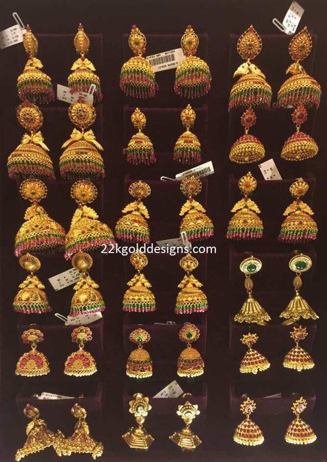 Temple Jhumkas Designs From Bhima 22kgolddesigns