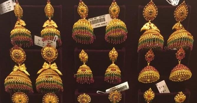 temple jhumkas designs from bhima