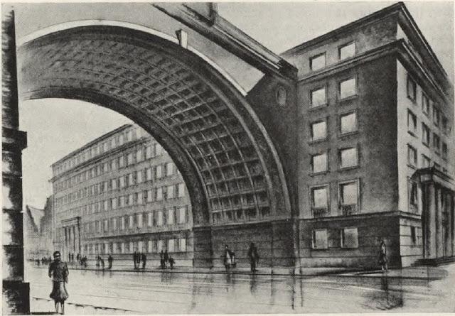 Проект арки. На заднем плане - кусочек Дома Черноголовых.