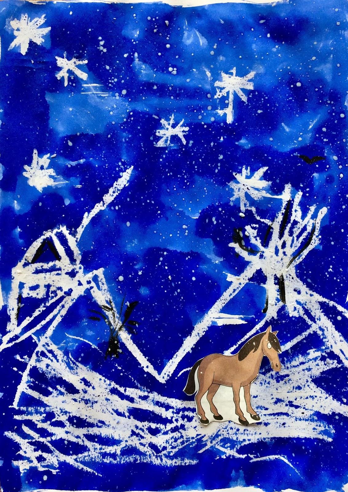 Noapte de iarnă (ceară și cerneală)