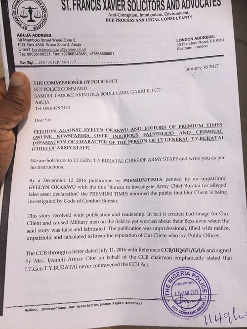 EXCLUSIVE: Raw Copy Of Chief of Army Staff's Petition To The Police That Nailed Premium Times Publisher, Reporter