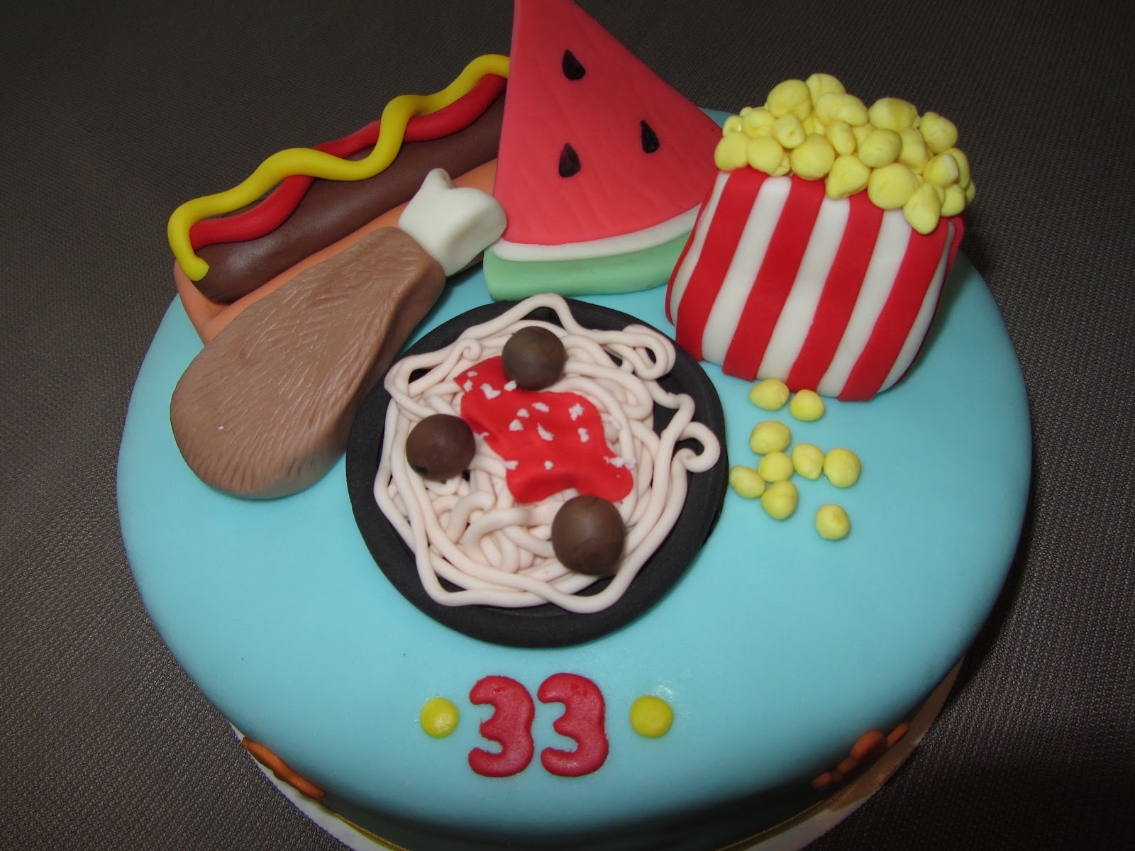 Favorite Foods 33rd Birthday Cake