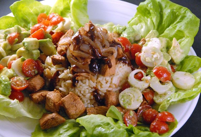 warm soy sriracha chicken and rice salad