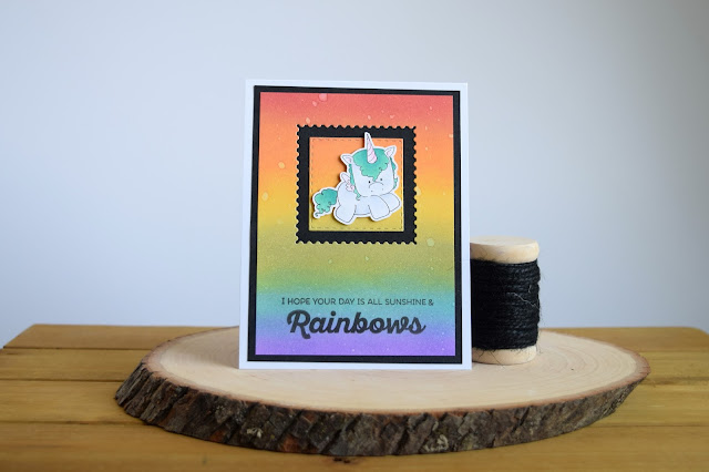 Rainbow Distress Oxide Ink Blending Tutorial by Jess Crafts featuring Stamping Bella Unicorns