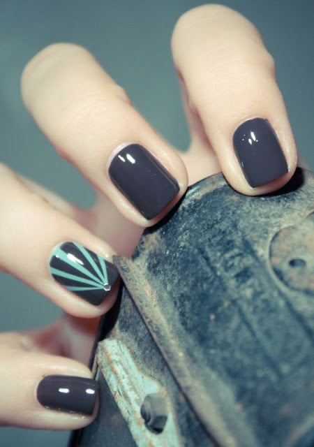 Gorgeous dark grey nails