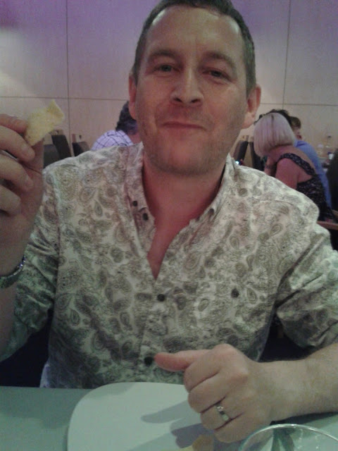 Mat Hobbis enjoying poppadoms at the Purple Poppadom Restaurant, Cardiff