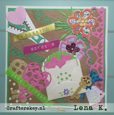 Birthday Card for a girl Marianne Design Lr0131 Lr0132 PP1401 Cr1260 LR0159 Cr1211 Lr0192 Joy!Crafts 6002/0403 6003/0040 1201/0006 6002/0246 Spellbinders Card Creator Borderabilities Curved Borders 2 - S5201