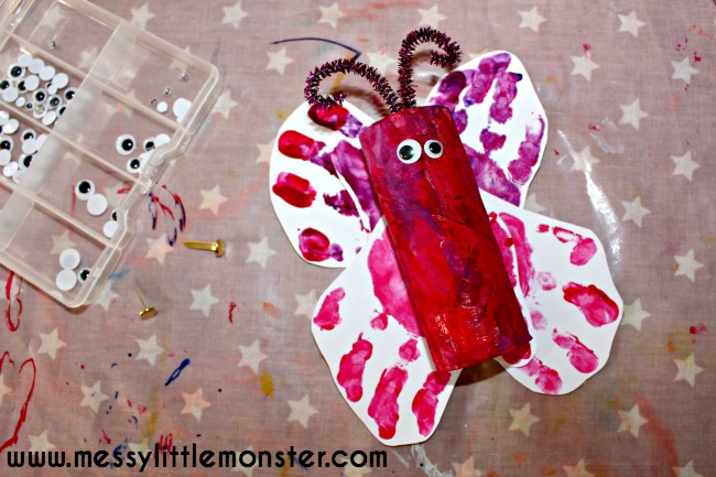 Toilet roll handprint butterfly craft for kids. An easy and adorable activity for  toddlers and preschoolers to enjoy. Perfect for a summer or minibeast project.