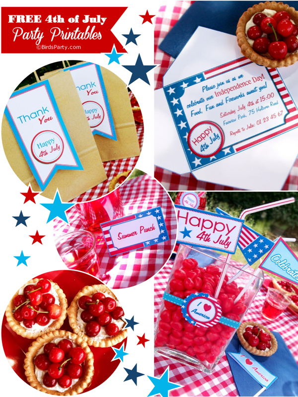Free Stars & Stripes 4th of July Printable Party Kit - BirdsParty.com