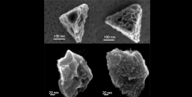 Silicon carbide grains are among the most durable bits that can be extracted from a meteorite; these are four taken from the Murchison meteorite. The width of an average human hair is about thousand times larger than the 100 nm scale bar.  Image from: Amari et al. (1994) Geochimica et Cosmochimica Acta 58, 459-470
