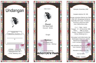 Contoh Undangan Pernikahan HVS Folio Lipat 3 Coreldraw