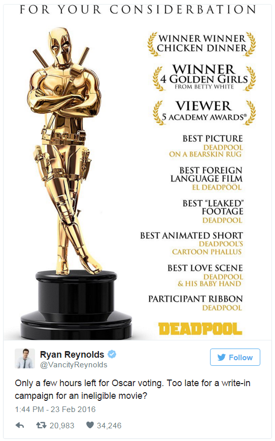 Ryan Reynolds' Late Oscars Write in Campaign Tweet