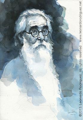 Valle-Inclan Watercolor portrait