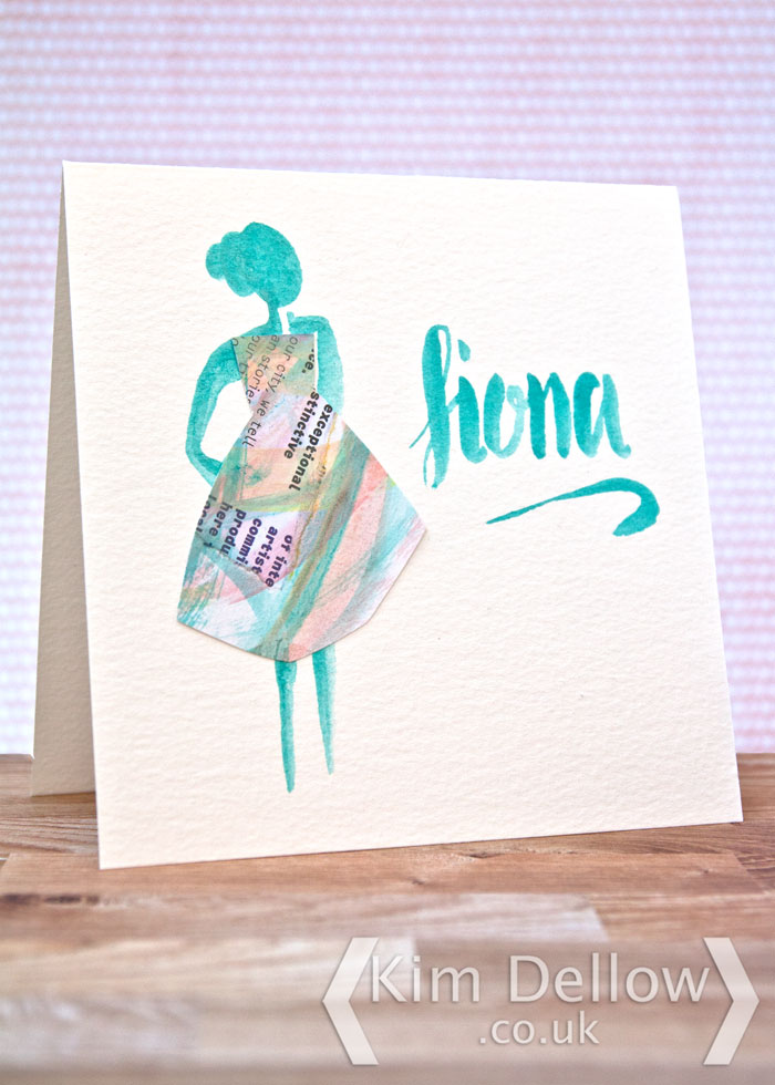 A mixed media card for a Fashionista by Kim Dellow